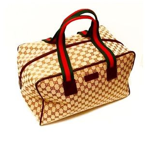 Authentic Gucci Monogram GG Web Weekend Bag